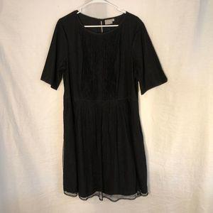 eShakti Plus Size 2X Dress Black Pleated 1255